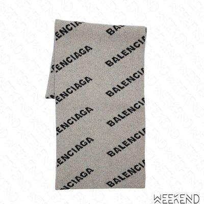 【WEEKEND】 BALENCIAGA Logo 巴黎世家 圍巾 灰色