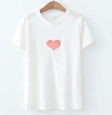 1905(均碼)Warn Heart夏裝新款溫馨體貼時尚字母愛心刺繡棉質短袖打底衫T恤女