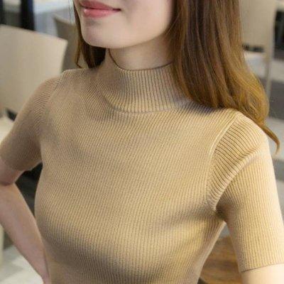 短袖針織衫女2018秋裝新款套頭薄毛衣修身緊身半高領打底衫線衣