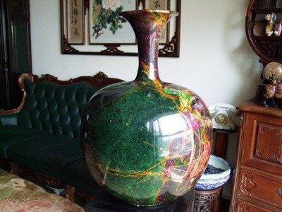 花東奇彩玉-大型擺件聚寶盆花瓶-收口聚財天球瓶-付旋轉底座-廣告檔次 限時優惠