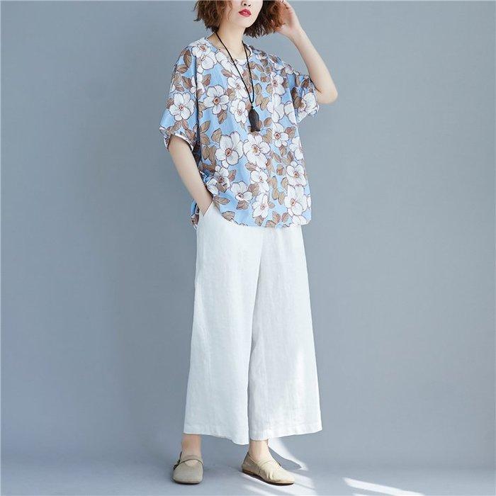 大碼T恤 夏季新款洋氣小清新大花朵蝙蝠袖T恤衫棉麻寬松顯瘦碎花短袖上衣