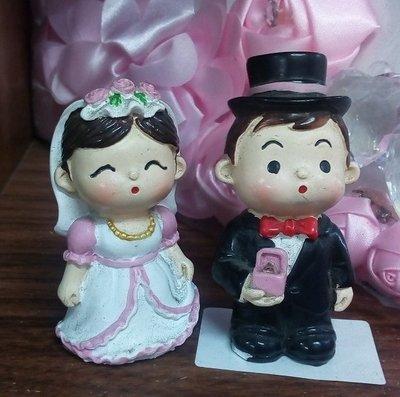 【浪漫349】Q版新人  5公分高  新娘新郎 婚禮佈置 蛋糕裝飾  波麗材質