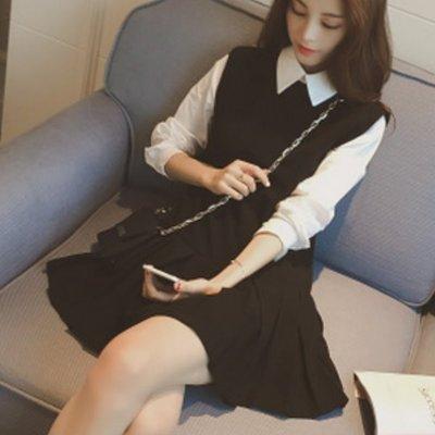 連身裙 #F-021 假兩件襯衫洋裝款