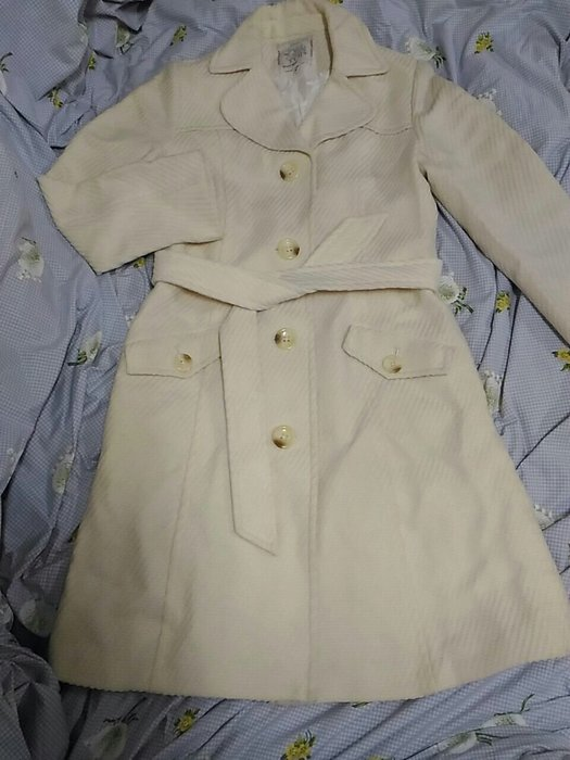Miss Iris米白色純羊毛編織長外套大衣 M號 厚款
