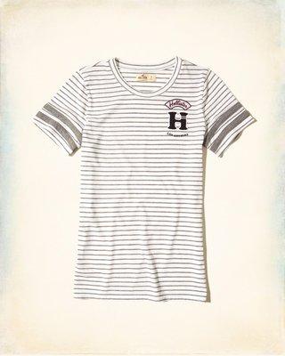 【天普小棧】HOLLISTER HCO Applique Logo Graphic Tee貼布短袖T恤灰色條紋XS/S號