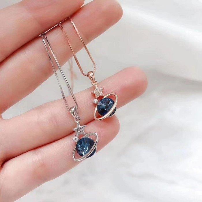 香港正生純銀老店 奧地利星球藍鑽項鍊  純銀項鍊