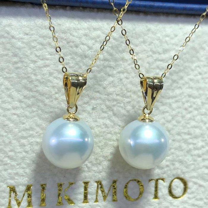 (輕舞飛揚)優質澳白18k金鑲嵌天然澳白海水珍珠吊墜,頂級珠寶級珠光~珠光寶氣,珍珠正圓強光無暇,珠珠直徑9-10mm