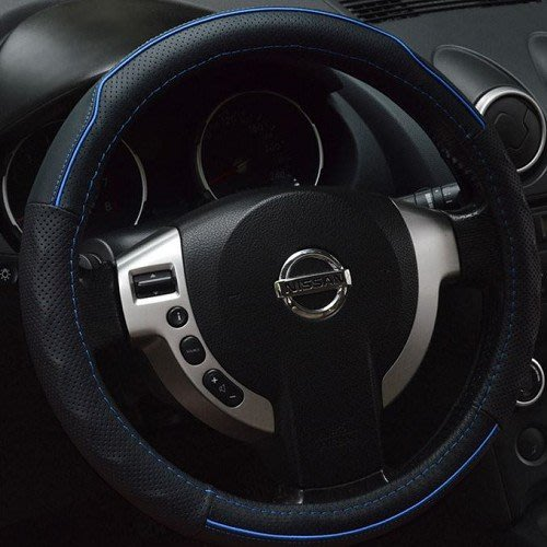 黑藍線條真皮方向盤套 護套 皮套 GM JEEP HUMMER BUICK LANDROVER 沂軒精品A0208-2