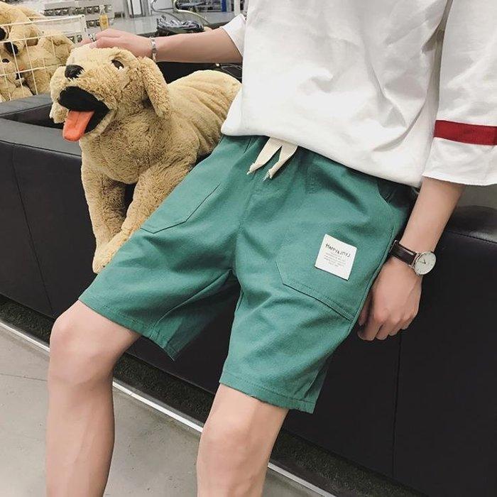 短褲夏季短褲男士正韓素面休閒五分褲寬鬆沙灘褲鬆緊腰褲頭