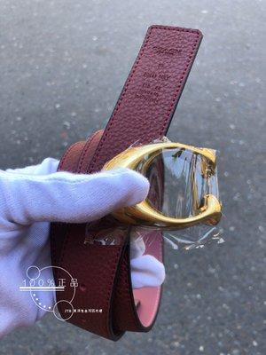 折扣款 全新正品 COACH 30921 女用皮帶 酒紅*粉紅色 雙面皮革 金釦 ladies belt