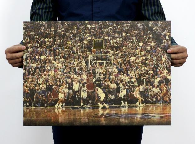 【貼貼屋】NBA 喬登 Michael Jordan 經典絕殺 籃球 懷舊復古 牛皮紙海報 電影海報 221