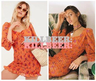 KillBeer:崔姬的花園派對之 歐美復古For Love&Lemons橘玫瑰印花綁帶方領露背連身裙洋裝072705