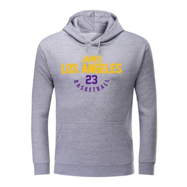 湖人23號詹姆斯抓絨連帽寬松套頭衛衣籃球服男籃球訓練服 town