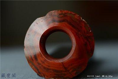 藏寶閣 戰漢千年紅縞瑪瑙三才環44*18mm少見級別高品相如圖包老包真 D5474