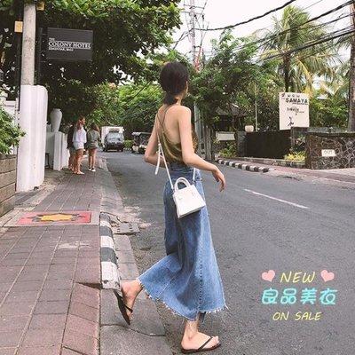 牛仔長裙 下擺開叉不規則牛仔裙女夏季a字裙過膝長裙韓版中長款毛邊半身裙