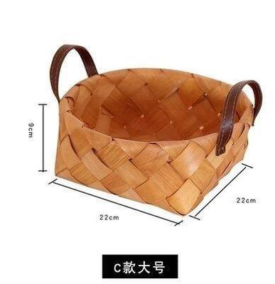 ZIHOPE 日式手工木片編織收納籃筐田園創意面包籃收納籃野餐整理儲物籃ZI812