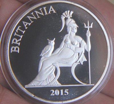 紀念章 鍍銀 2015不列塔尼亞 英國女神 北愛爾蘭英格蘭 約40mm,具體價格咨詢賣家【古玩搜羅】285