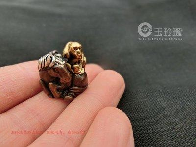 【古玩今典】紫銅鎏金銀雕刻馬上封侯吊墜生肖猴馬掛件配飾古玩銅器雜項掛件
