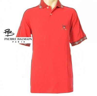 男裝  全新 專櫃品牌PIERRE BALMAIN 紅色格紋邊 刺繡LOGO字母 高爾夫 運動休閒POLO衫-M