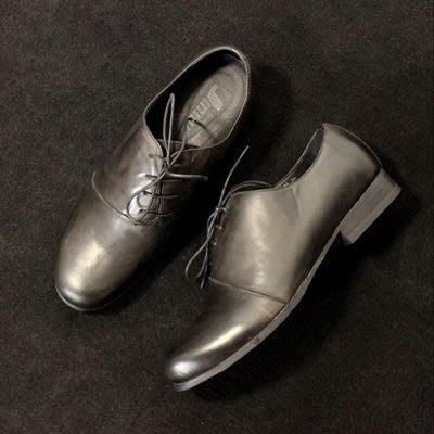 皮鞋 真皮休閒斜繫帶圓頭鞋-復古簡單百搭低跟男鞋73kv22[獨家進口][米蘭精品]