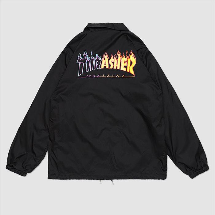 【QUEST】THRASHER 日線 REBURN FLAME COACH JACKETT - 拼接火焰教練外套