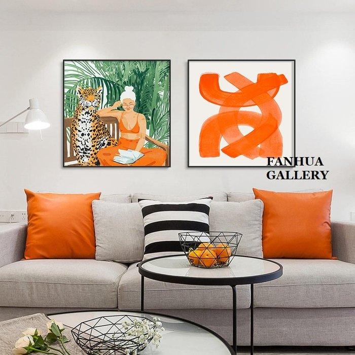 C - R - A - Z - Y - T - O - W - N 當代小眾藝術猩猩掛畫客廳玄關方形老虎人物抽象裝飾版畫新成屋樣品屋裝飾掛畫空間設計師款畫
