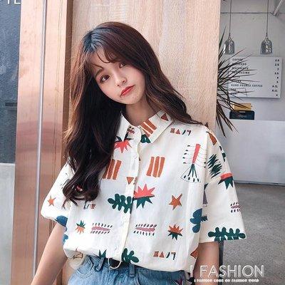 夏裝2018新款韓版百搭學院風可愛寬鬆polo領卡通印花短袖襯衫女潮