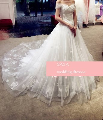 *全新~sasa婚紗禮服~一字肩簡約婚紗禮服 白紗~