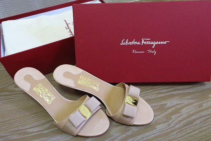 *Beauty*Salvatore Ferragamo粉色蝴蝶結高跟涼拖鞋 7.5號全新COCO17原價17500元加圖