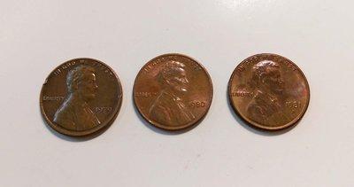 【觀天下‧郵幣天地】AC-103-1 美國老錢幣 ONE CENT 林肯總統1979 1980 1981 《 三枚一拍》