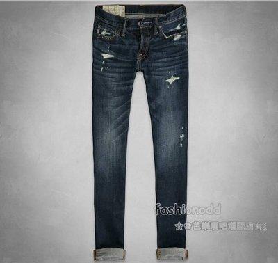☆✿fashionodd ☆ξ 【abercrombie & fitch 】A&F Skinny Jeans 深色刷破窄管牛仔褲【現貨】 Men 34*32