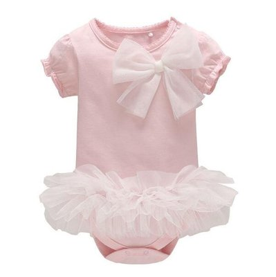 嬰兒嬰幼兒女寶包臀三角哈衣 外穿包屁衣 連體衣  公主短袖裙—莎芭