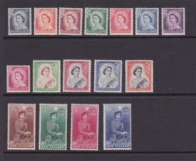 【雲品】紐西蘭New Zealand 1953 Sc 288-98A(MNH),298B-301(MLH) set MNH 庫號#BP03 47299