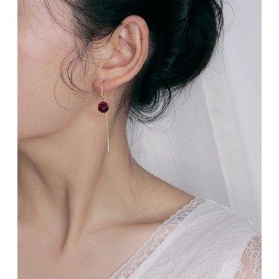 FAINO 天然玫紅虎眼石耳線女925純銀18k金耳鏈氣質長款流蘇耳環甜美