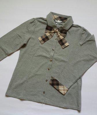 Kinloch Anderson金安德森全新經典灰色立領領口袖口滾格蝴蝶結點綴長袖棉衫