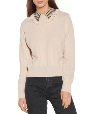 Sandro Noemi Ruffled Collar Sweater