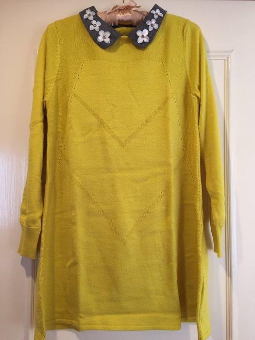 義大利牌 Sabrina 黃灰立體手工花朵撞色長袖毛洋裝