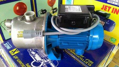 【 泉五金 】(附發票)清庫存隨便賣~義大利製造噴射1/ 2HP不鏽鋼馬達抽水機   地下水可抽深9米 110V附插頭 新北市