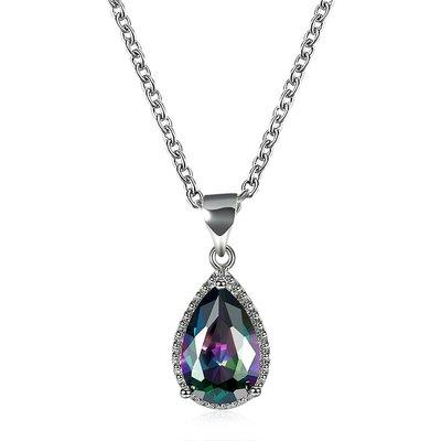 NATELA 歐美設計 彩色鋯石 水滴高雅風華 鍍金  項鍊 配飾  鑲鑽  生日禮物 情人節 飾品 優惠特價 附禮盒