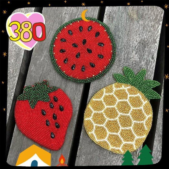 JYUN'S 日單 下午茶 草莓🍓 鳳梨🍍 菠蘿  西瓜🍉 手工 串串珠 杯墊 墊子 3款 預購