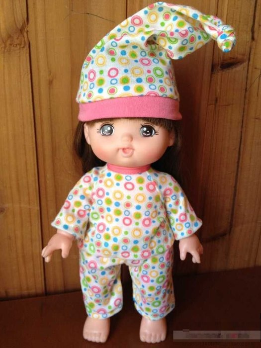 【小黑妞】小美樂.巧虎妹妹小花等30公分娃娃等可穿-小美樂夢幻彩色圈圈睡衣褲子+帽子-3件套(不含娃娃)【現貨】