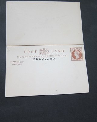 【雲品】祖魯蘭Zululand 1893 overprint 1/2d Postcard double Reply