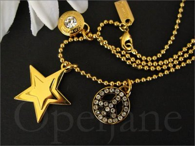 Coach Necklace Jewelry星星金色鑲水晶項鍊*名牌精品禮盒裝 免運費 愛Coach包包