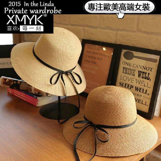 Linda私家衣櫥*帽子女夏季遮陽帽太陽帽韓遮臉防曬帽沙灘帽蝴蝶結拉菲草帽涼帽潮