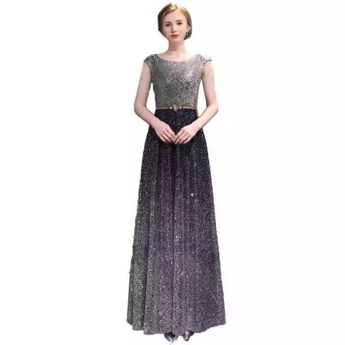 just Queen 現貨XL號 實拍 藏藍銀色亮片漸層韓版晚禮服 晚宴 新娘 訂婚 結婚 婚紗 媽媽裝 造型 禮服