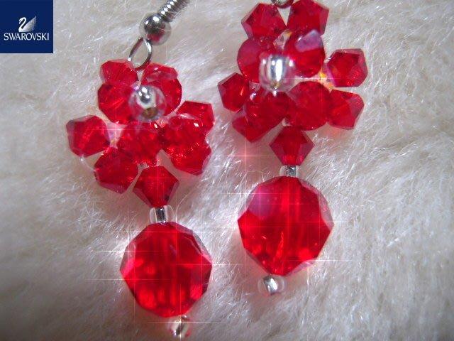 ※水晶玫瑰※ SWAROVSKI 地球珠水晶 耳勾式耳環(DD437)
