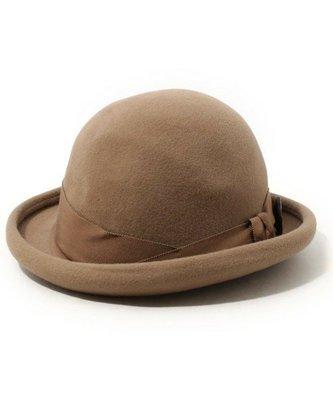 Ca4La日本製  質感挺版100%兔毛 側邊大木扣造型紳士帽,圓禮帽 全新有吊牌(NO.911)