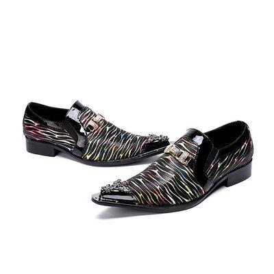 個性時裝男皮鞋 英倫經典歐美男士尖頭皮鞋 潮流真皮男高跟男鞋外增高鞋懶人鞋子