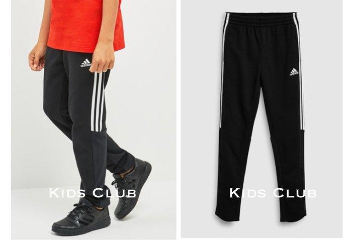 【Kids Club】12/27 NK英國直郵男童兒童女童大童adidas黑色拼接條紋運動褲慢跑褲長褲子
