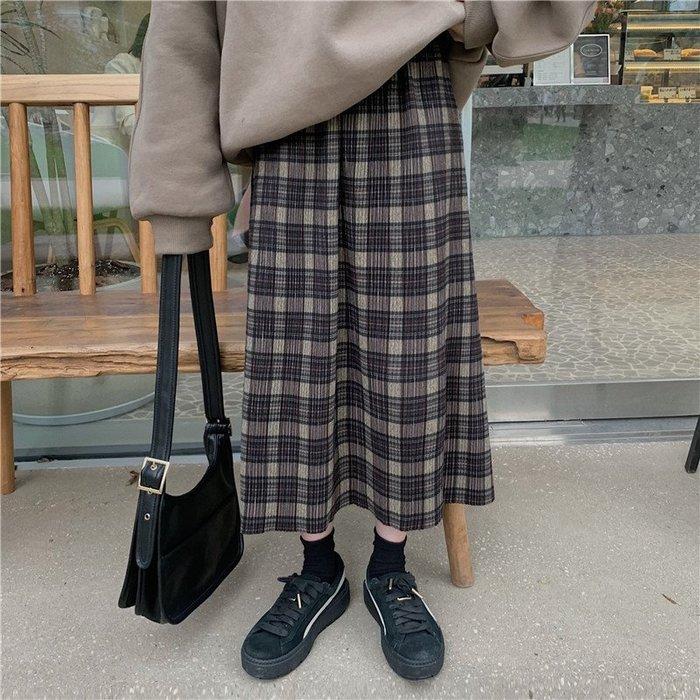 Maisobo 韓 秋冬 復古氣質格紋鬆緊腰長裙 TO2- 1008 預購